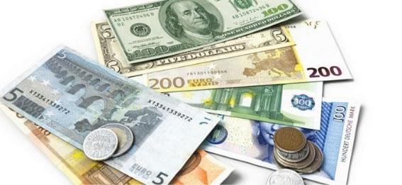 contrato de câmbio dinheiro notas moedas