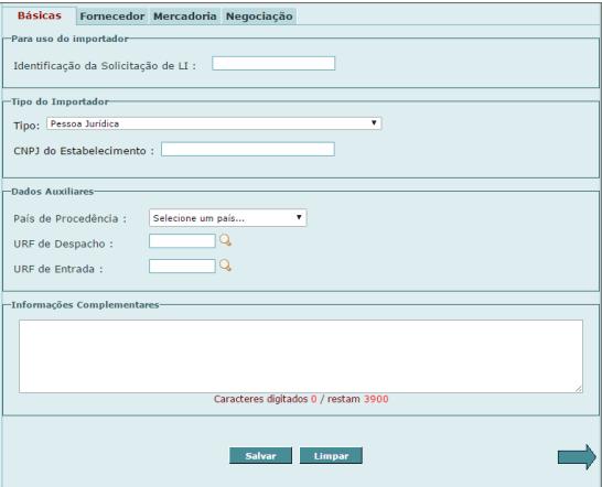 licença de importação dados Siscomex